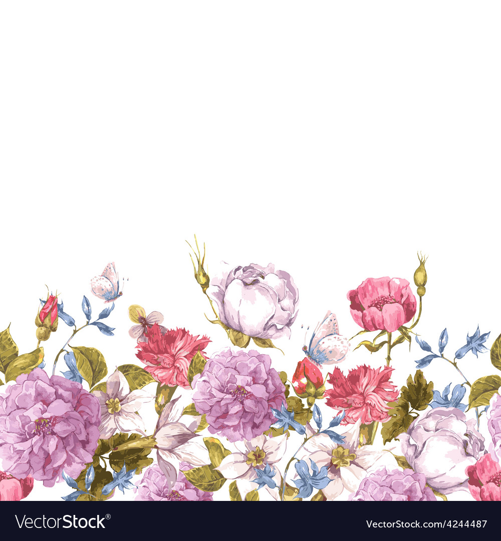 Floral seamless watercolor border with roses vector