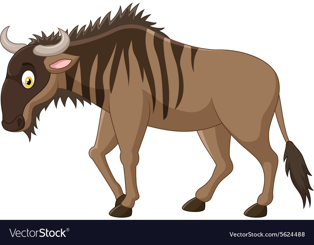 Strong of animals wildebeest vector