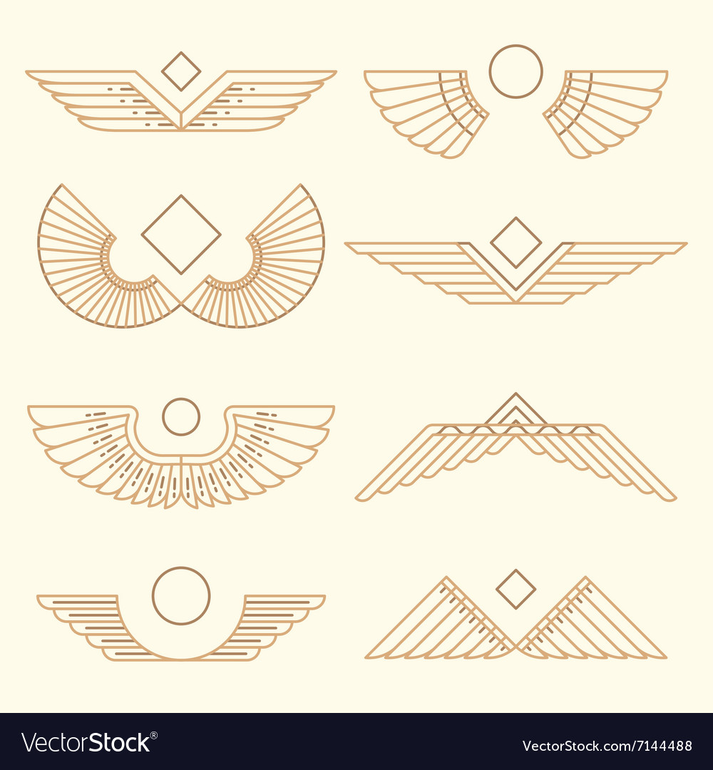 Wings template linear style vector