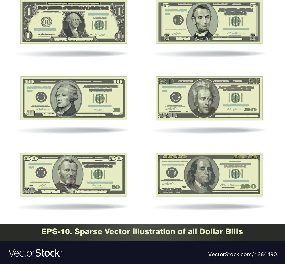All dollar bills flat vector