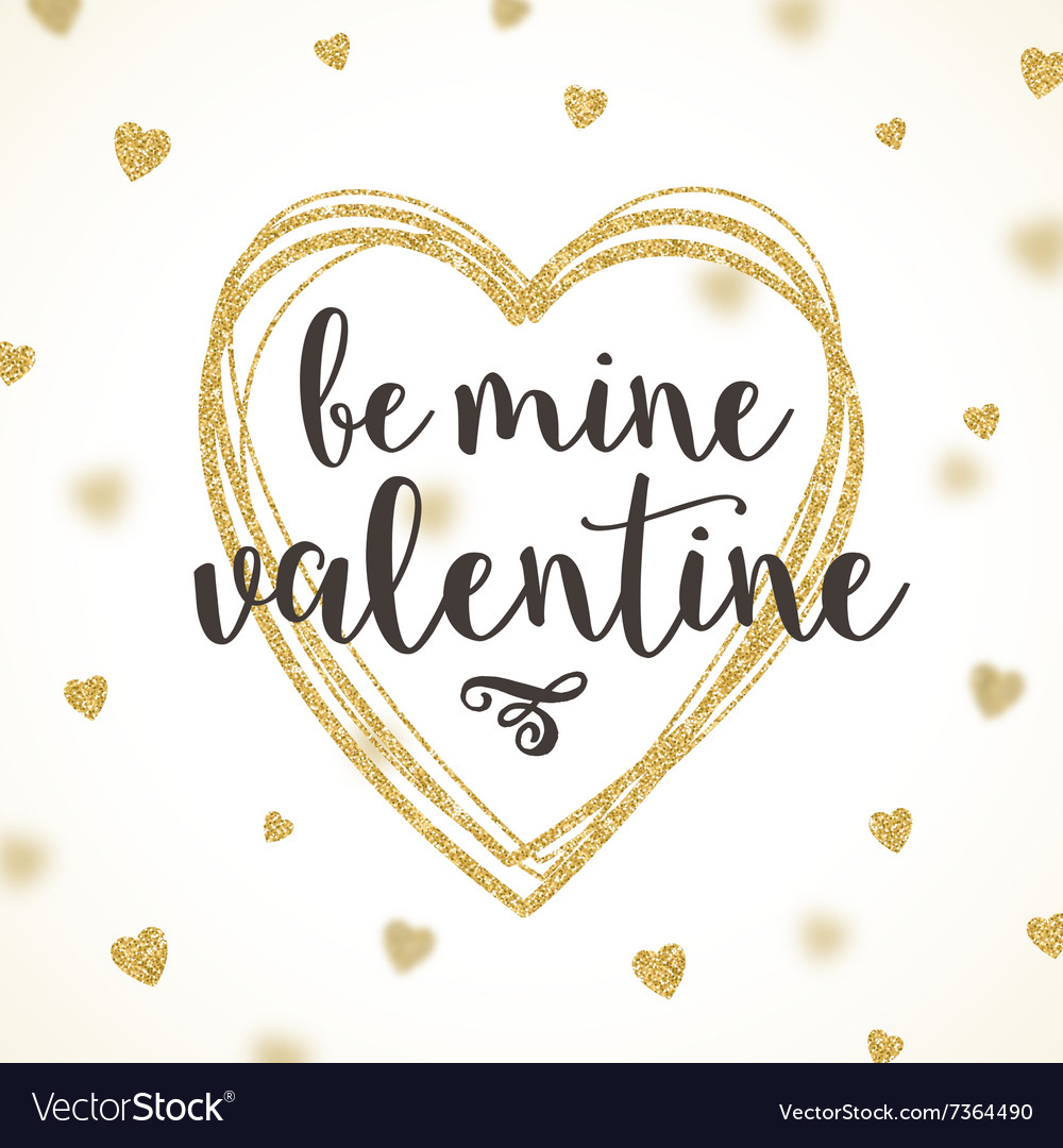 Valentines greeting card with glitter gold vector