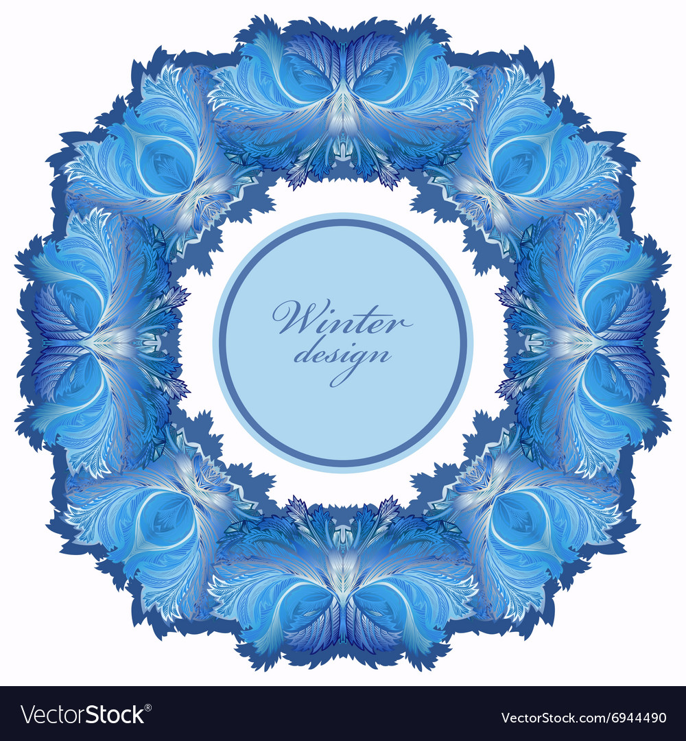 Winter frozen glass frame blue wedding frame vector