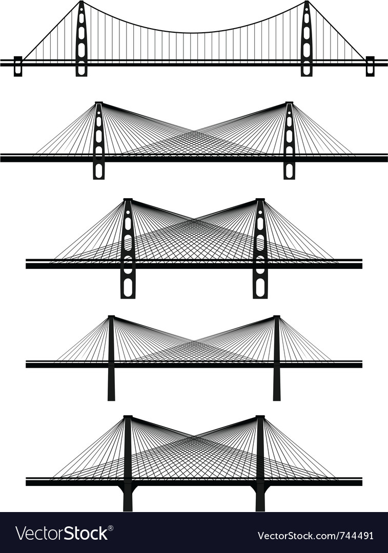 Metal cable suspension bridges vector