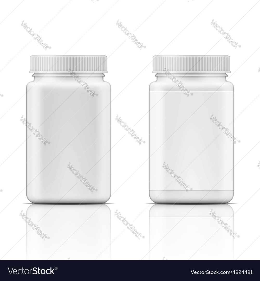 White square plastic bottle for pills vector
