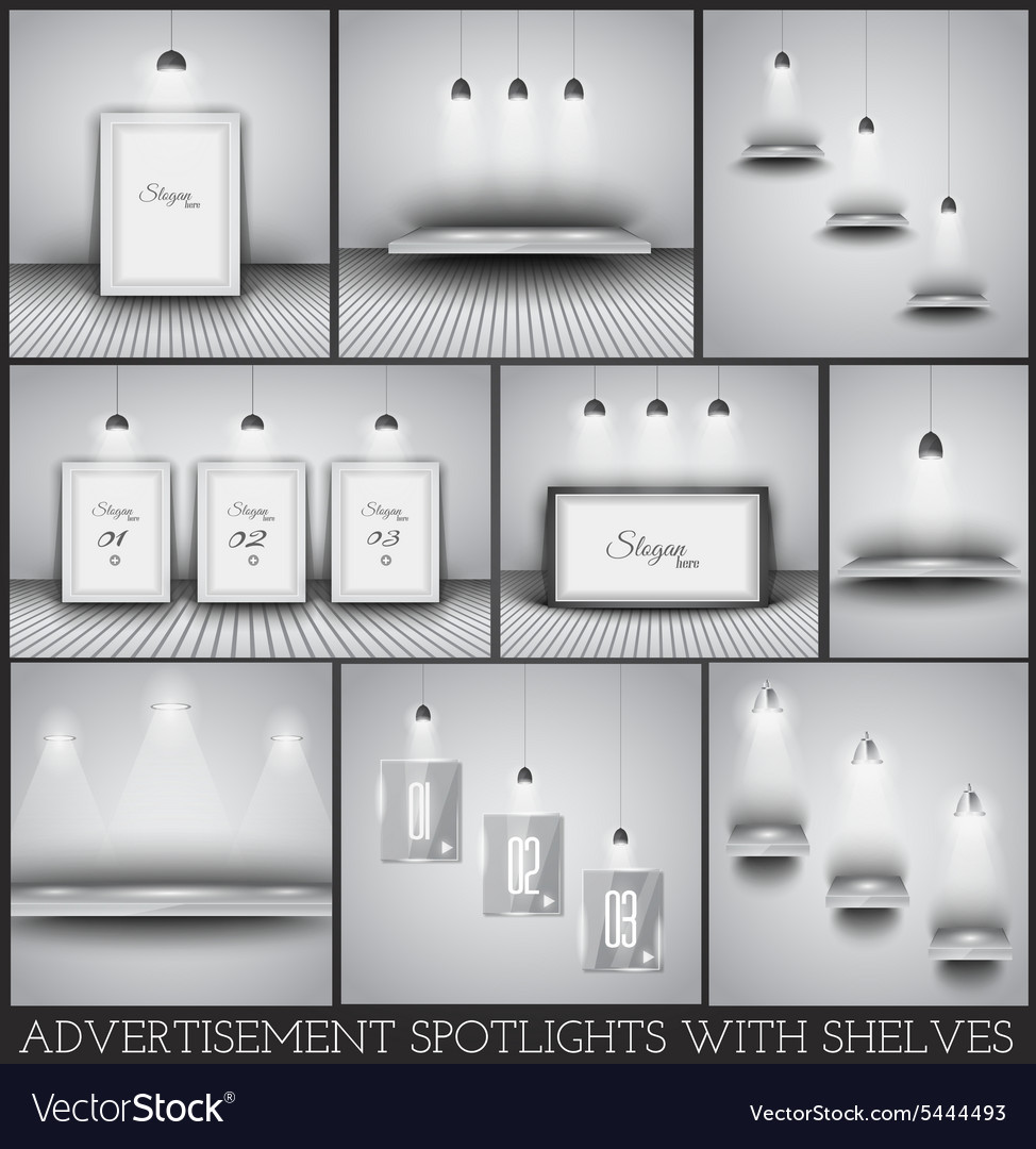 Collection of spotlights and shelves for product vector