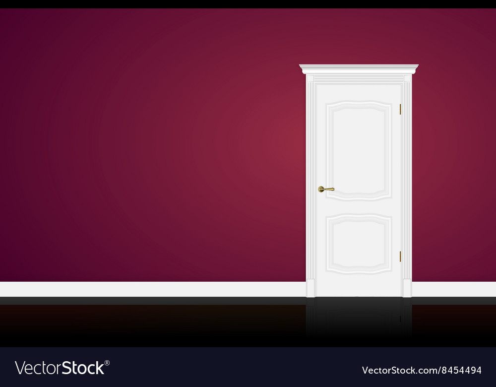 Closed white door on purple wall background vector