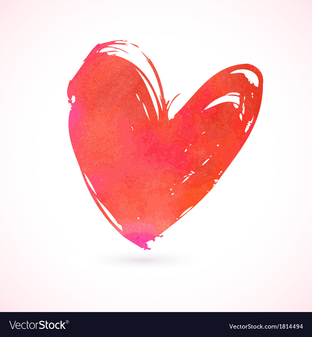 Grunge card with hand painted heart vector
