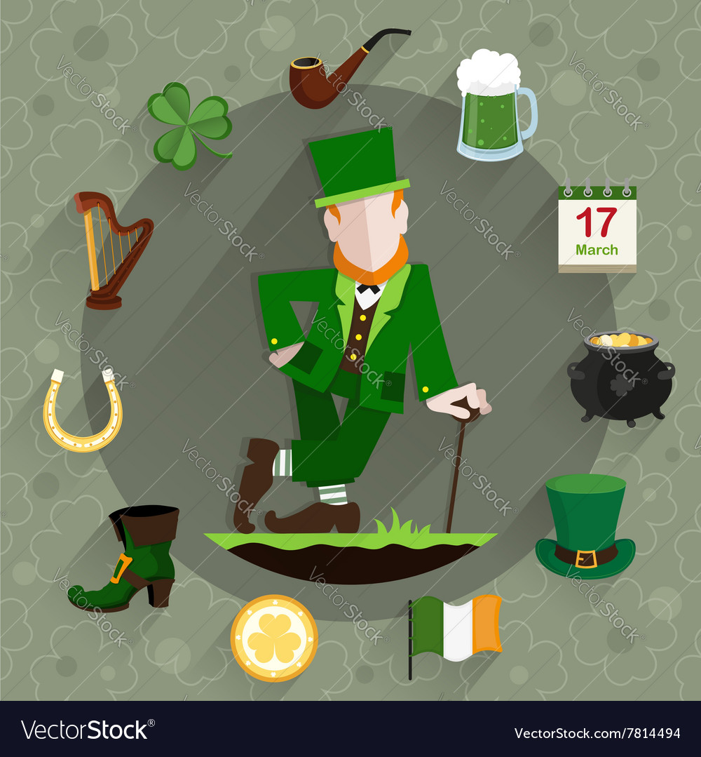 Leprechaun leans on a cane vector