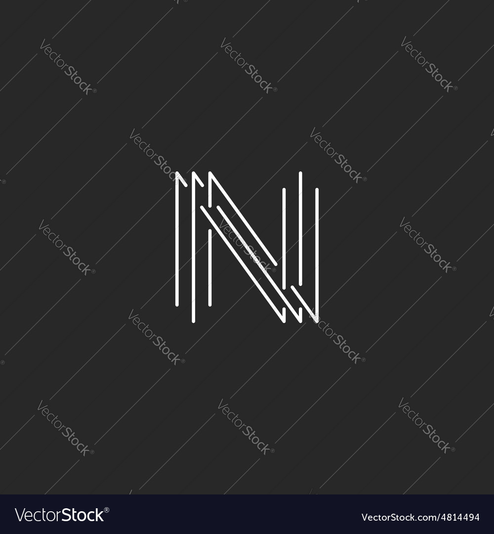 Letter n monogram logo black and white mockup vector