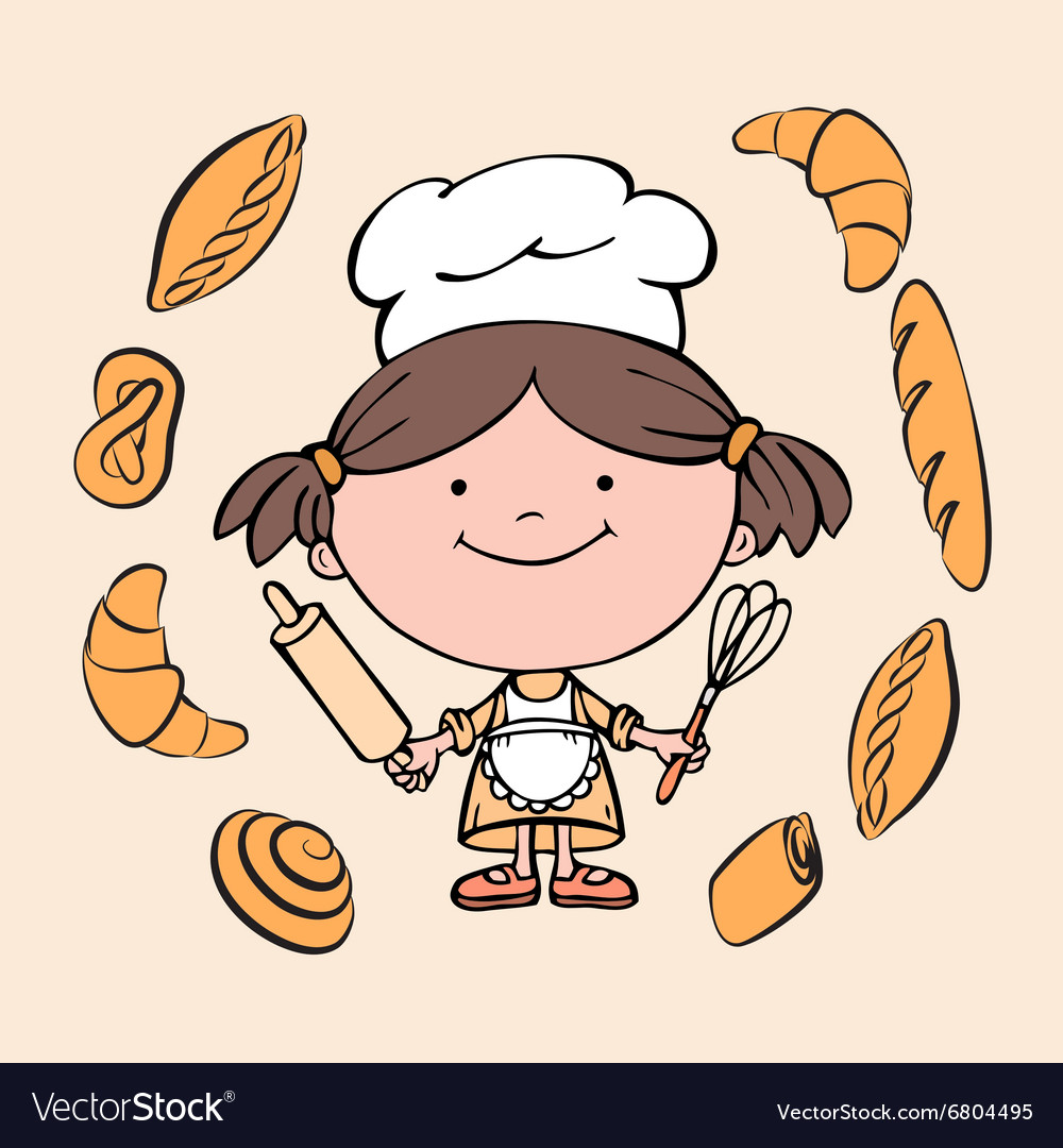 Girl cook 2 vector
