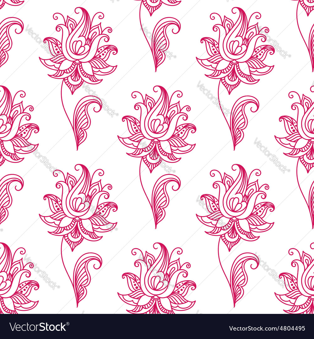 Pink paisley floral seamless pattern vector