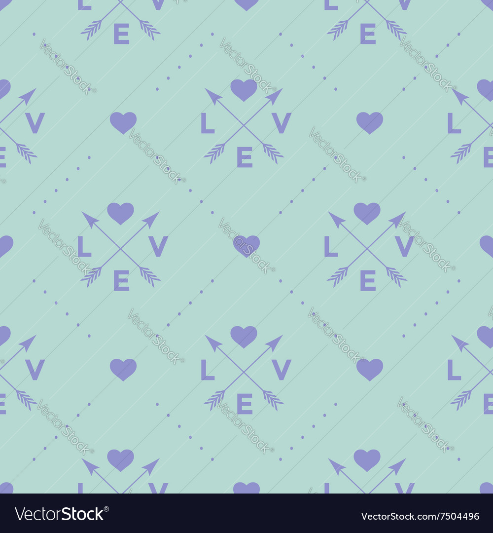 Seamless pattern with arrow heart and word love vector