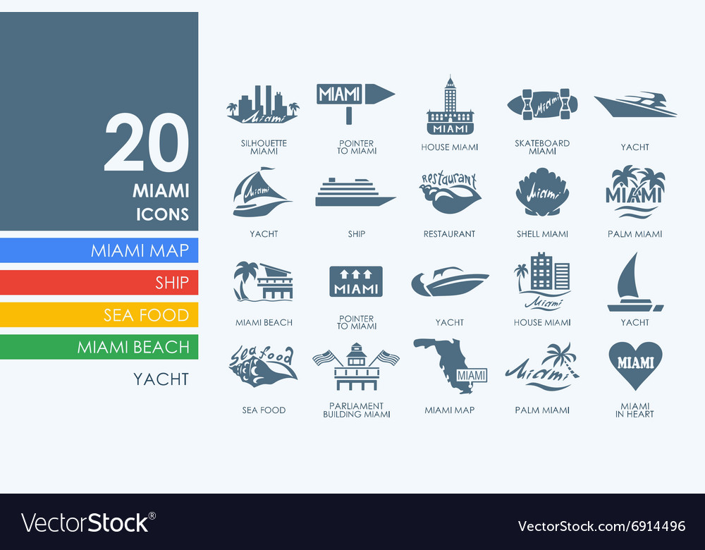 Set of miami icons vector