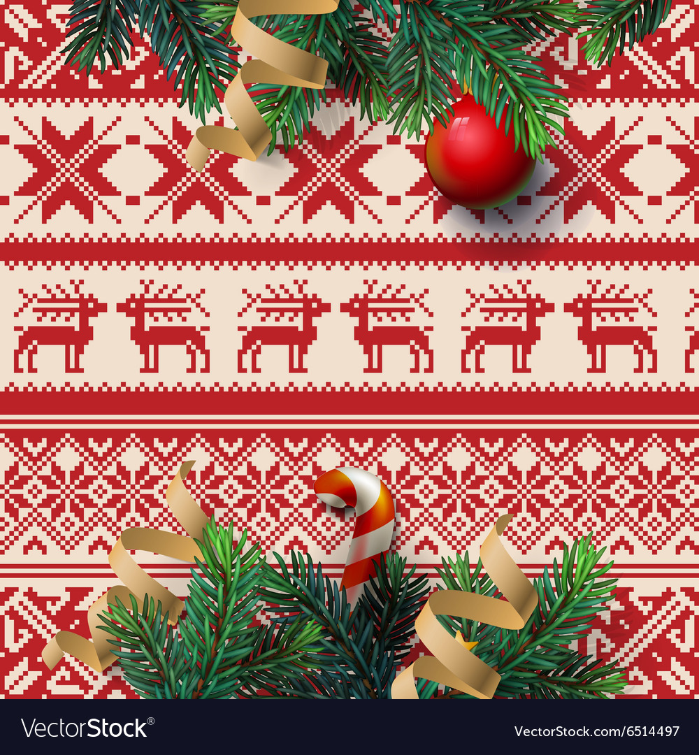 Christmas decoration with ornament background vector