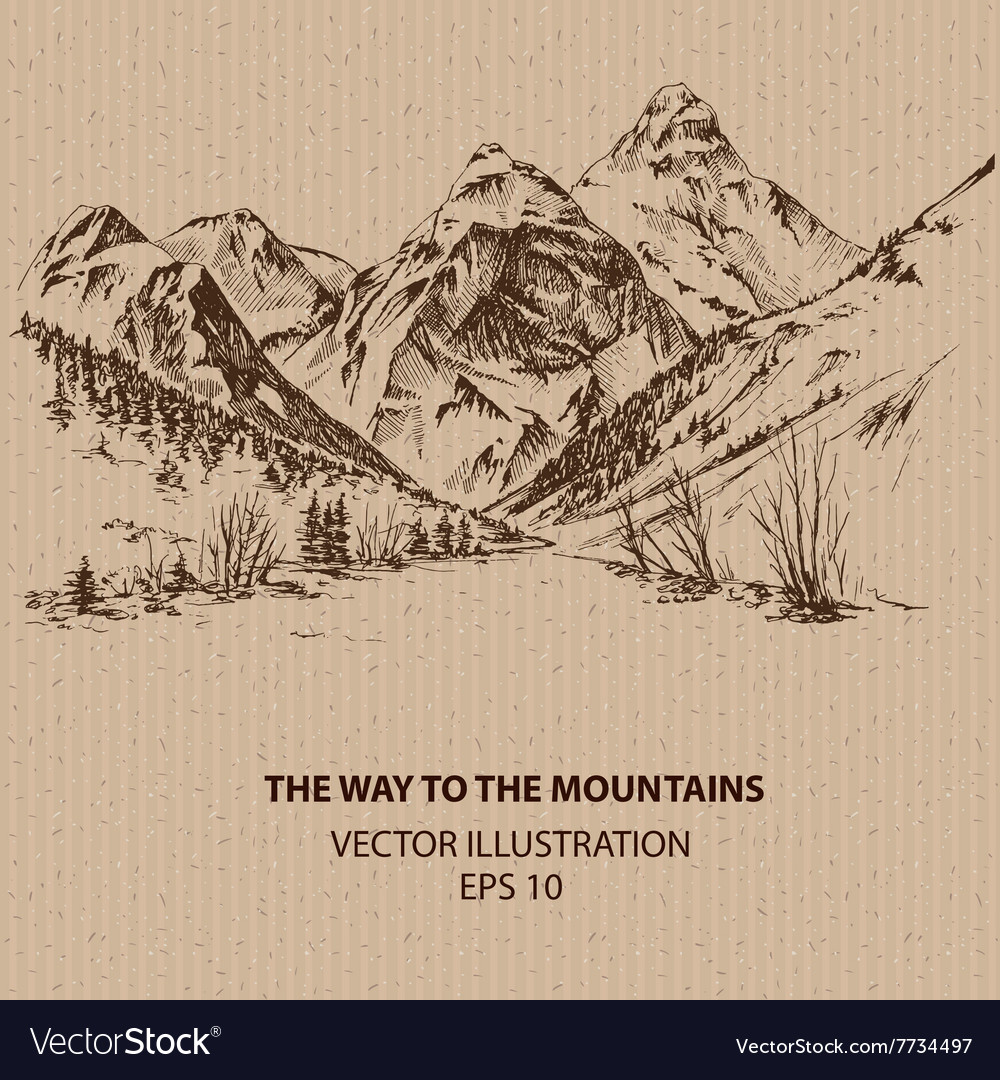 Way to the mountains vector