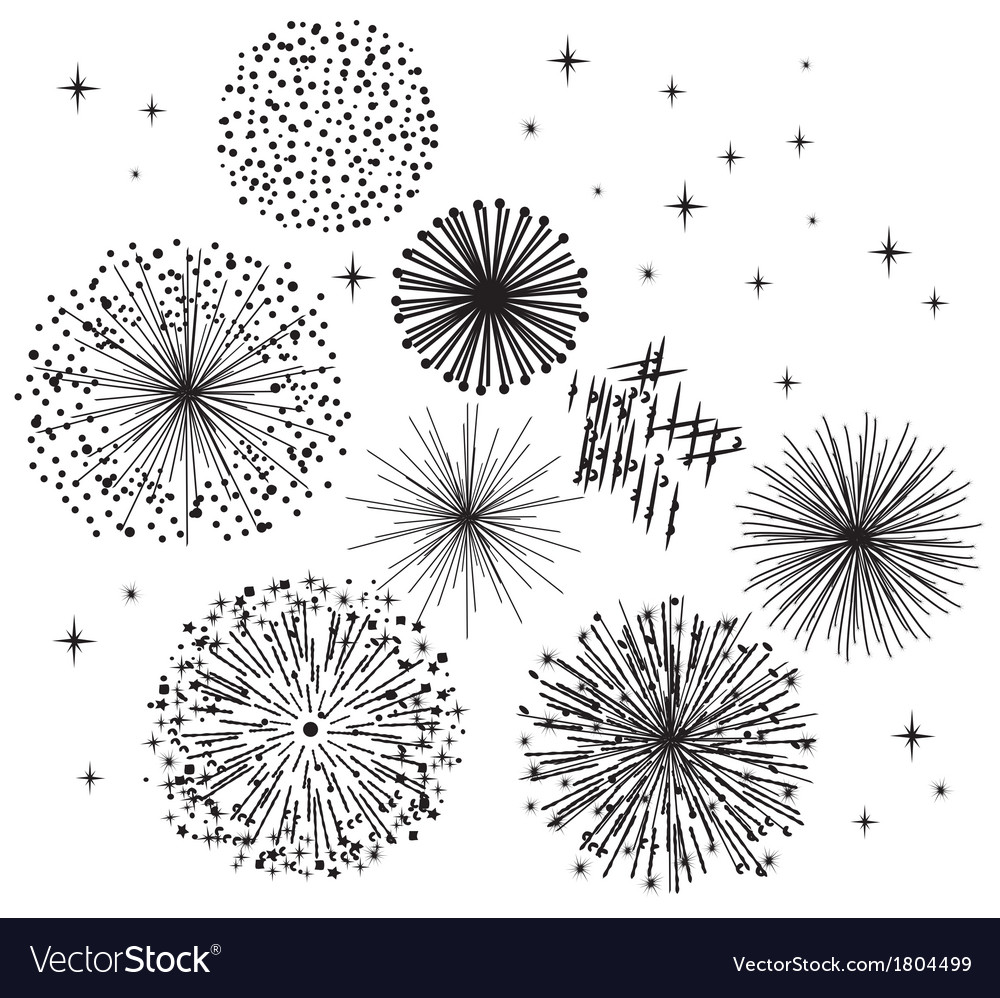 Black fireworks vector
