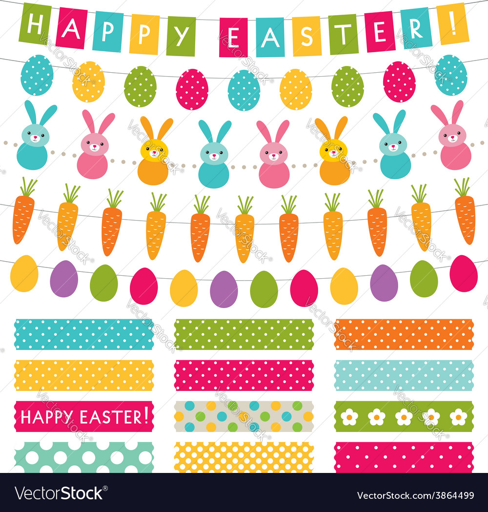 Easter set decoration and washi tapes vector
