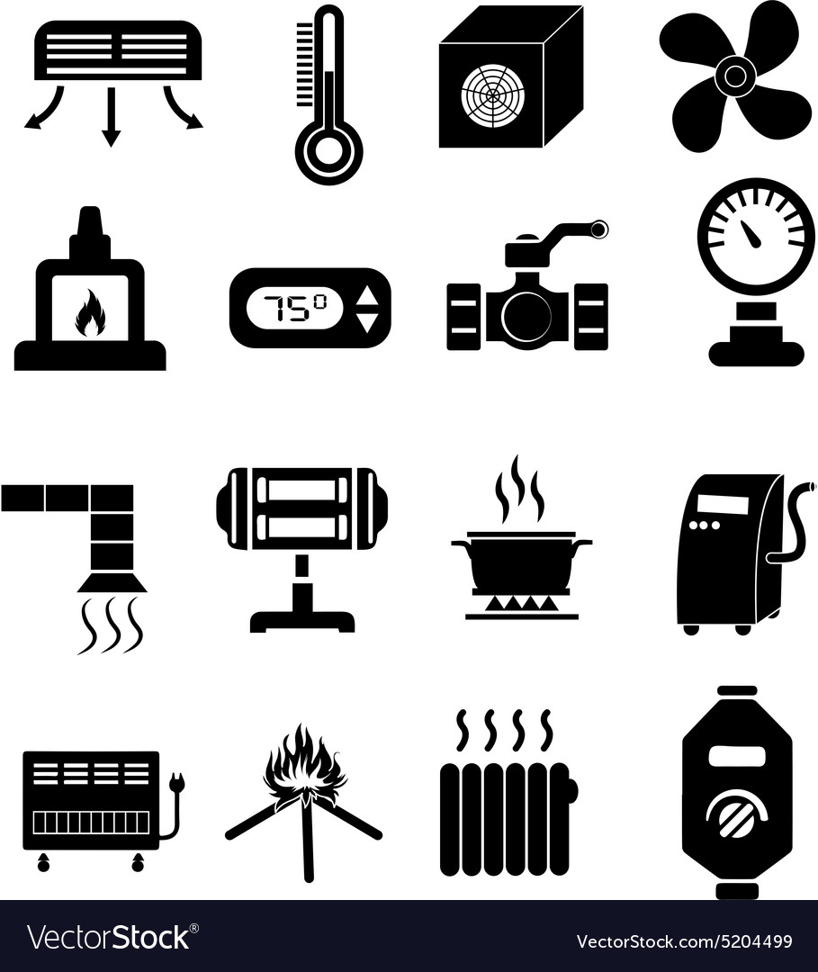 Heating icons set vector