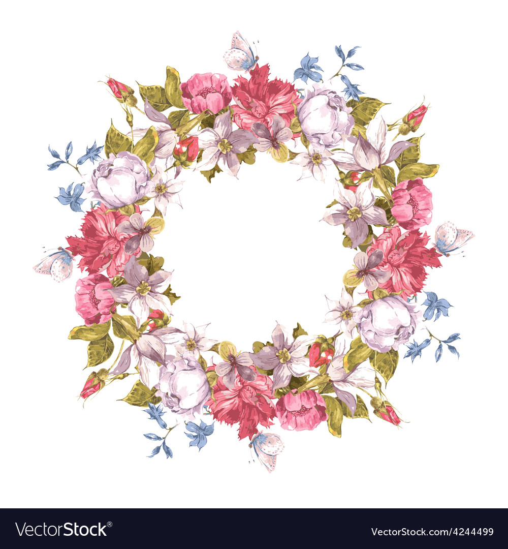 Invitation card with floral wreath vector
