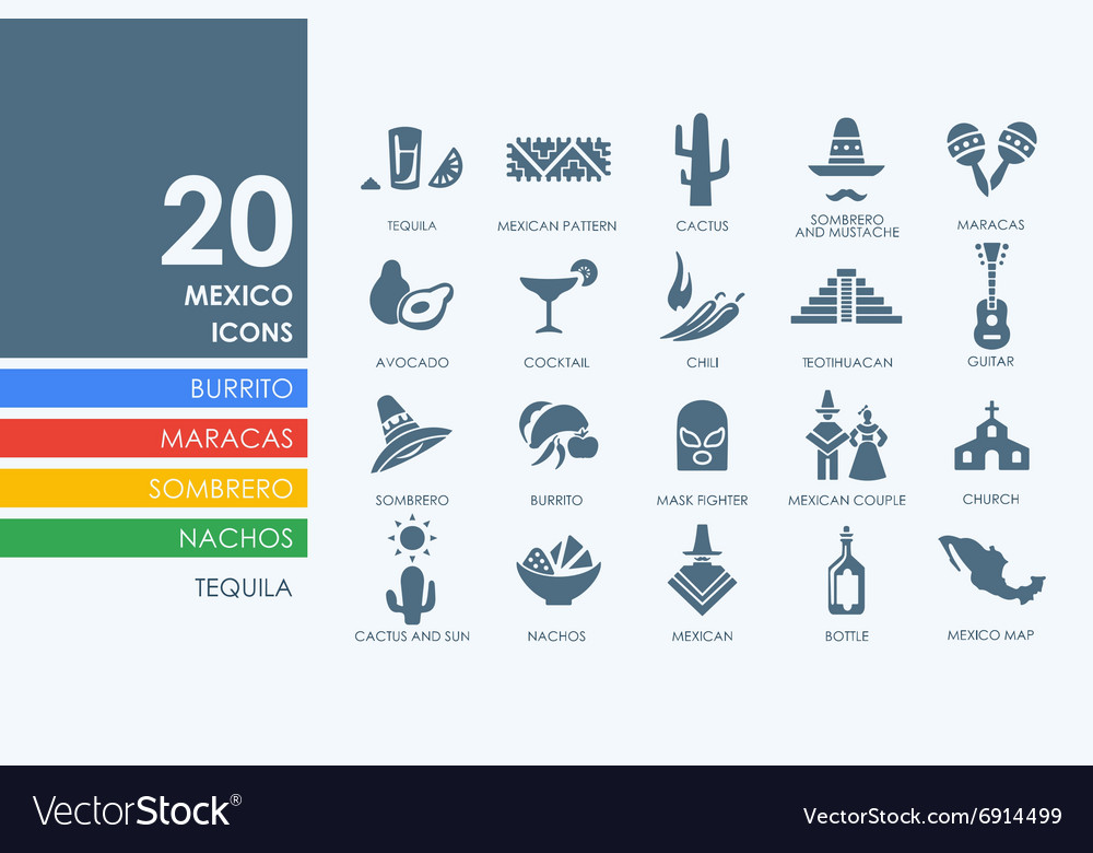 Set of mexico icons vector