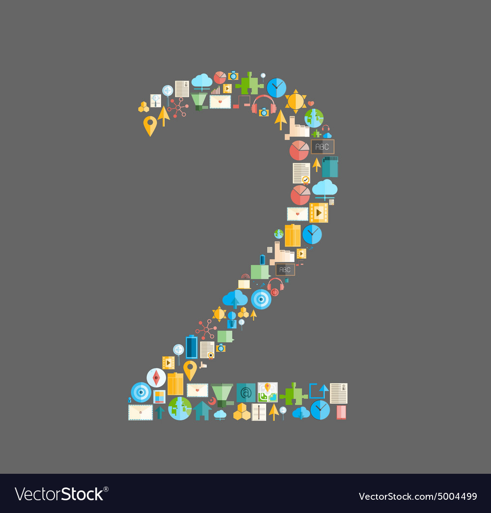 Two number social network with media icons vector