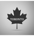 Canadian maple leaf with city name Toronto flat vector image