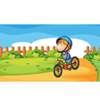 A young boy biking outdoor vector image