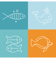 line fish logos and signs vector image vector image