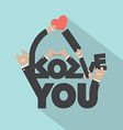 Love With Hand Sign Typography Design vector image