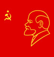 Lenin on red flag vector image