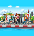 people walking on pavement in city vector image