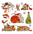set of merry christmas decorations and design vector image