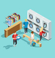 self service laundry facility isometric poster vector image