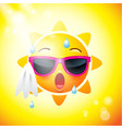 sun face icons or yellow funny faces in vector image