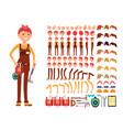 female technician cartoon character woman vector image vector image