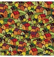 autumn houses seamless pattern vector image