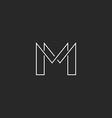M letter thin line monogram logo modern design for vector image