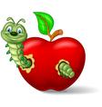 Caterpillar eat the apple vector image vector image