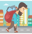Man with backpack full of devices vector image