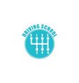 Driving school logo six gearshift knob blue emblem vector image