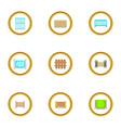 fence design element icons set cartoon style vector image