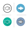 Fish flat design linear and color icons set vector image