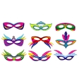 Isolated color mardi gras masks collection vector image