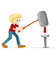 Man with giant hammer and nail vector image