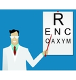 Ophthalmologist examining patient vector image