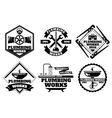 Plumber working logo and force plumbing label vector image