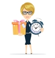 woman holding alarm clock and a box gifts vector image