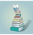 Rabbit and books vector image vector image