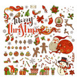 set of merry christmas symbols decorations design vector image