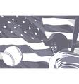 BASEBALL FLAG USA BW vector image vector image